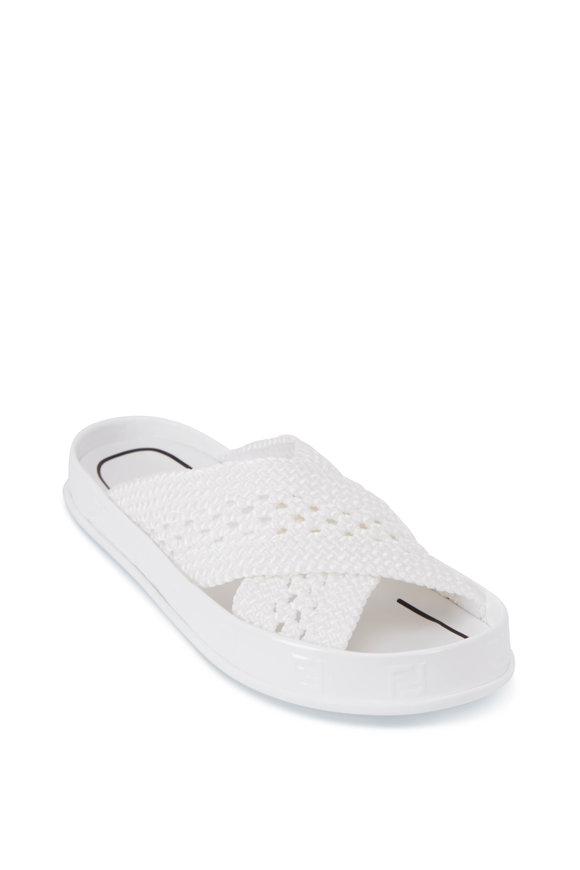 Fendi FF White Woven Cirss Cross Slide Sandal
