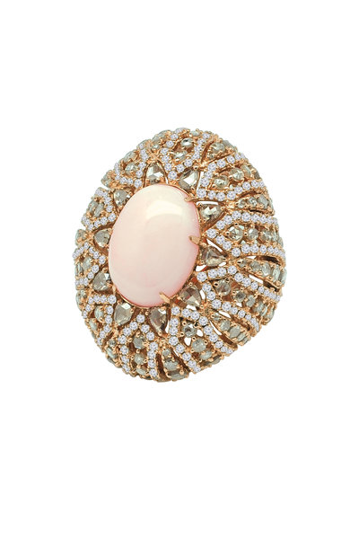 Sutra - Rose Gold Coral Diamond Ring