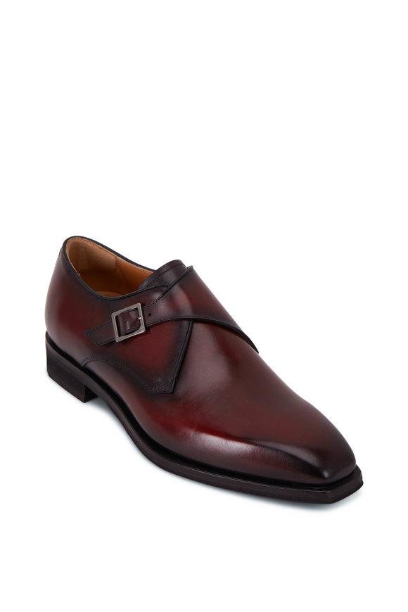 Berluti Blake Deep Red Leather Single Monk Strap Shoe