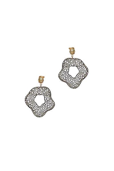 Kathleen Dughi - White Gold & Quartz Shape Drop Earring