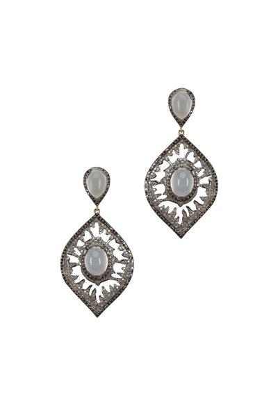 Loriann - Rhodium Moonstone Diamond Dangle Earrings