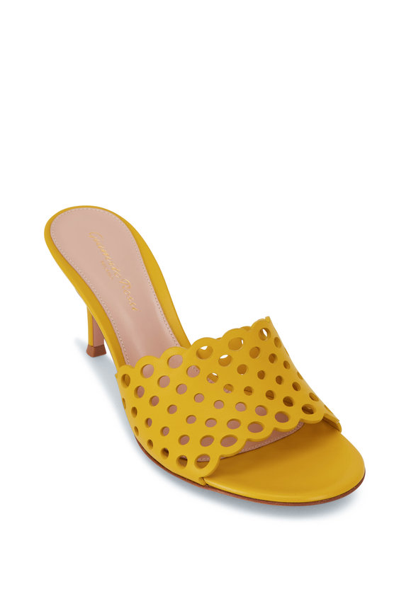 Gianvito Rossi Gisele Mimosa Yellow Perforated Leather Mule, 70mm