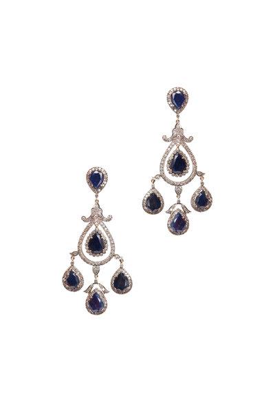 Loren Jewels - Gold & Silver Sapphire Diamond Drop Earrings