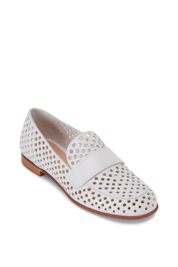 Gianvito Rossi Thierry White Perforated Leather Loafer