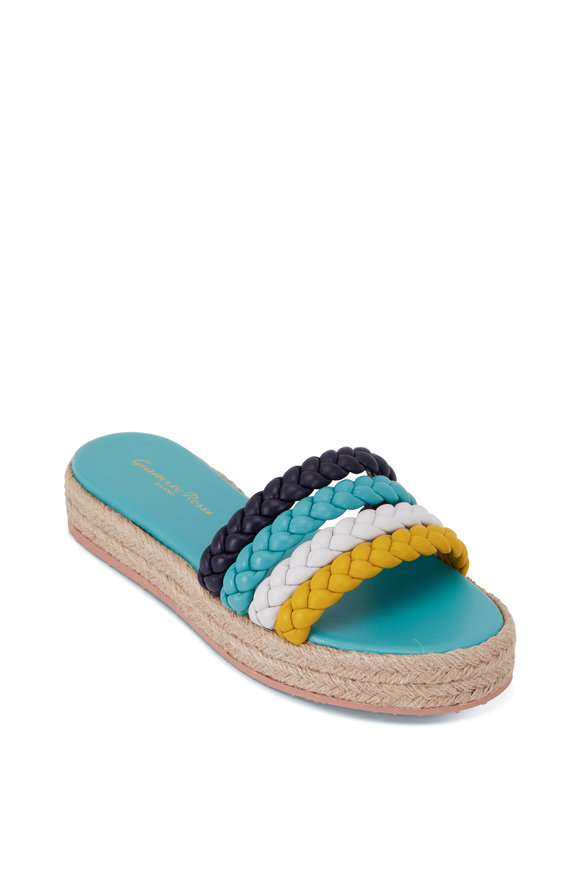 Gianvito Rossi Marbella Yellow, Blue & White Leather Espadrille