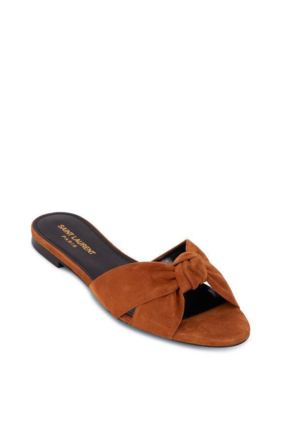 Saint Laurent Bianca Cumin Suede Knotted Flat Sandal