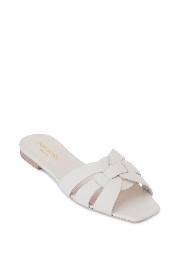 Saint Laurent Tribute Porcellana Leather Flat Sandal