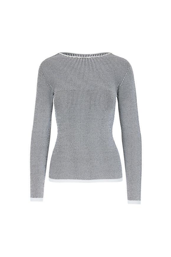 Giorgio Armani Black & White Waffle Stitch Sweater