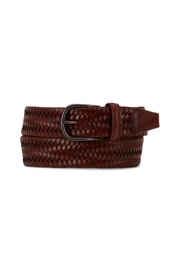 Anderson's Cognac Woven Leather Belt