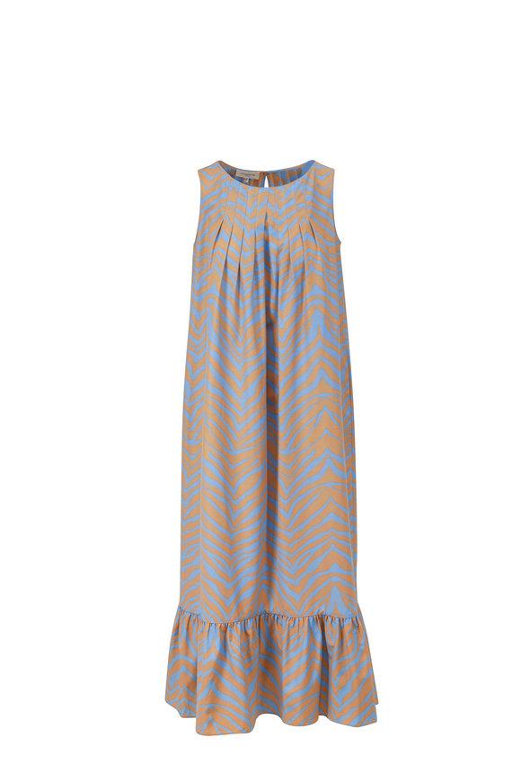 Lafayette 148 New York Halle Fresh Blue Multi Sleeveless Pleated Dress