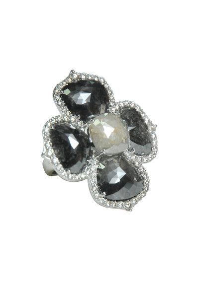 Sutra - 18K White Gold Rough & White Diamond Flower Ring