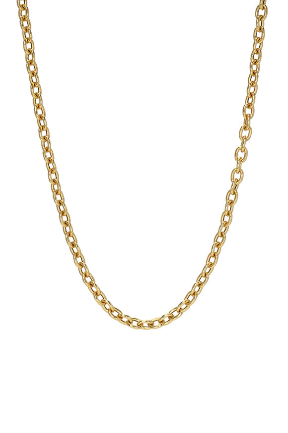 Dru Yellow Gold Hollow Rolo Chain Necklace