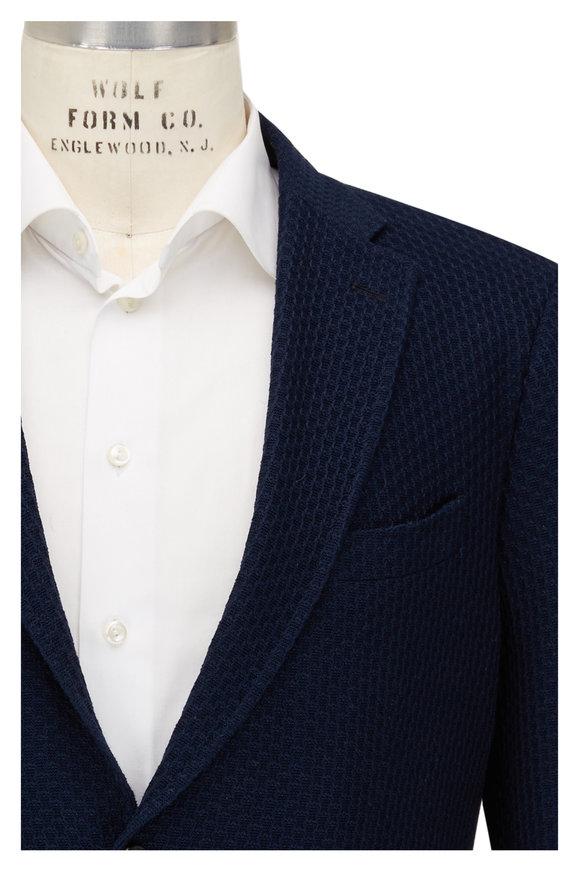 Etro Blue Knit Cotton Sportcoat