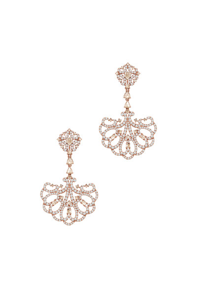Sutra - Rose Gold All Diamond Drop Earrings