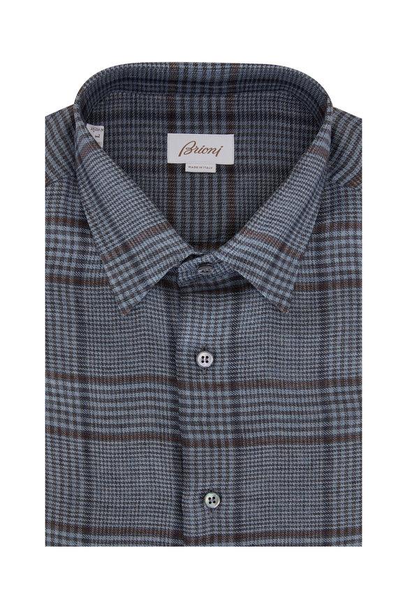 Brioni Teal Plaid Linen Sport Shirt