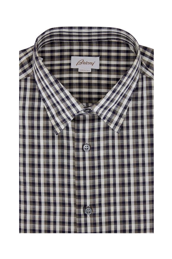Brioni Navy, Cream & Tan Check Sport Shirt