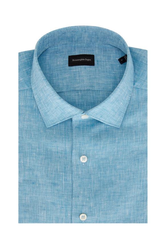 Ermenegildo Zegna Teal Linen Short Sleeve Sport Shirt