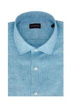 Ermenegildo Zegna - Teal Linen Short Sleeve Sport Shirt