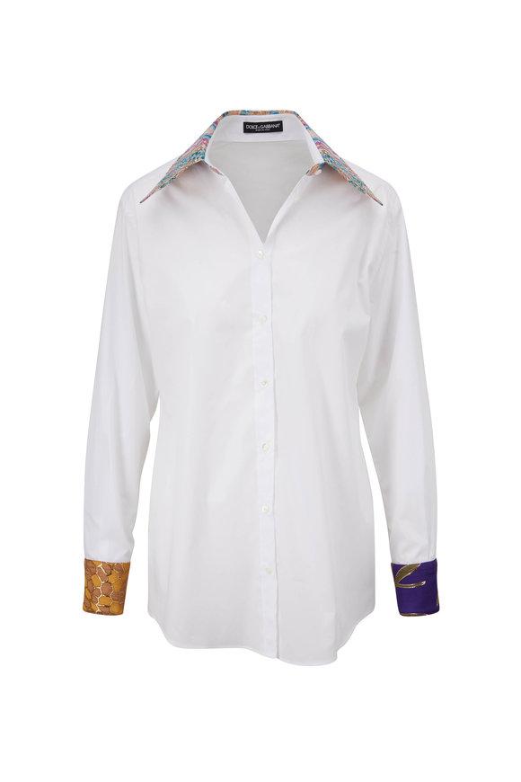 Dolce & Gabbana White Patchwork Collar & Cuff Button Down