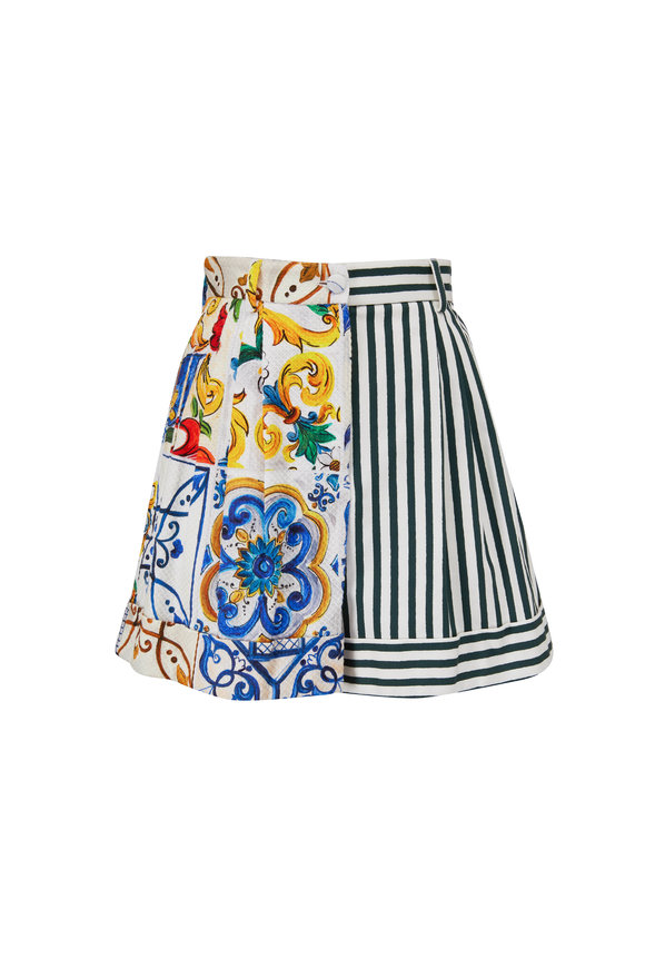 Dolce & Gabbana Multicolor Stretch Cotton Patchwork Shorts
