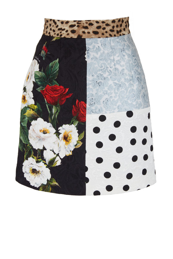 Dolce & Gabbana Multicolor Patchwork Jacquard Mini Skirt