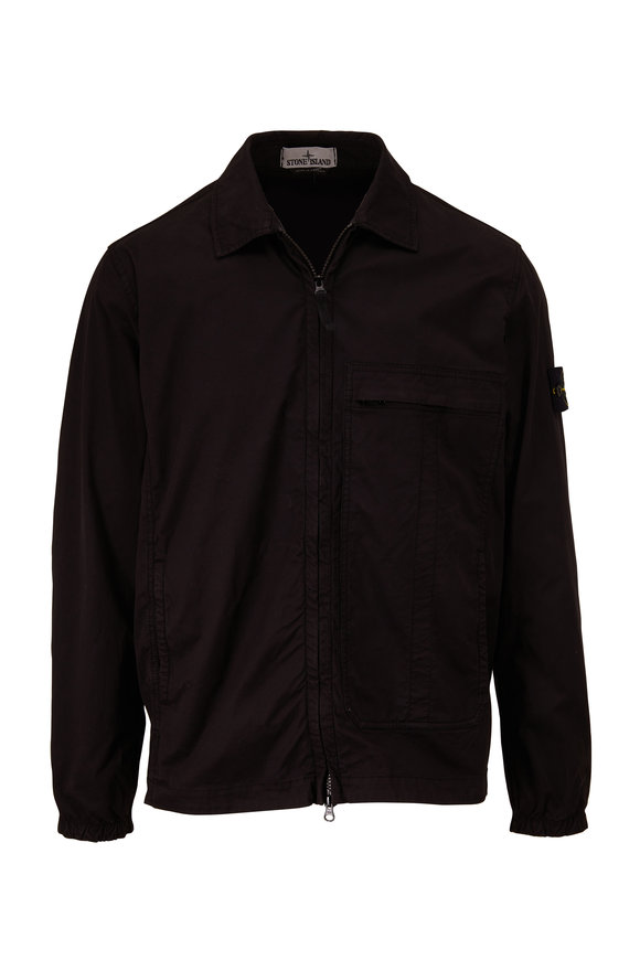 Stone Island Black Stretch Cotton Shirt Jacket