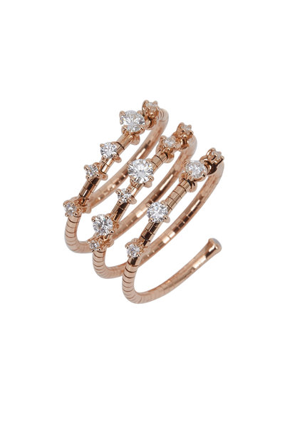 Mattia Cielo - 18K Pink Gold Diamond Rugiada Coil Ring