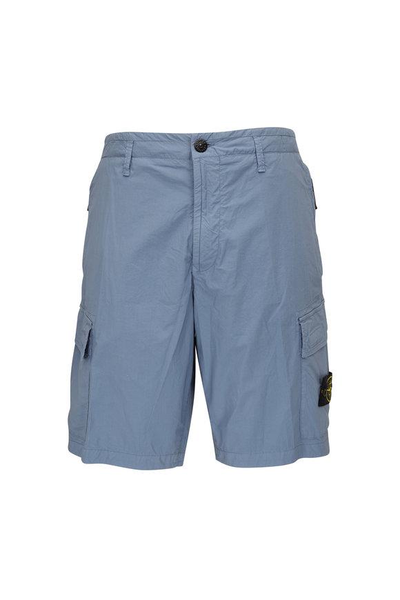 Stone Island Steel Blue Nylon Cargo Shorts