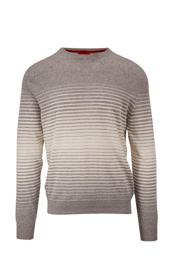 Isaia Gray & White Stripe Crewneck Pullover