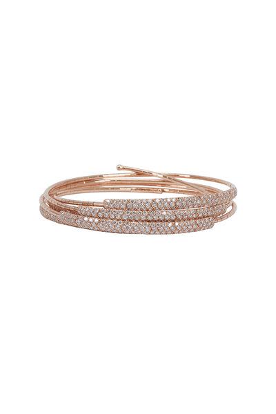 Mattia Cielo - 18K Rose Gold Diamond 5 Coil Bracelet