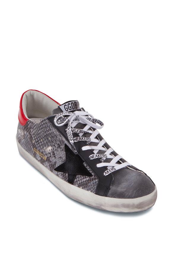 Golden Goose Superstar Gray Python Print Low-Top Sneaker