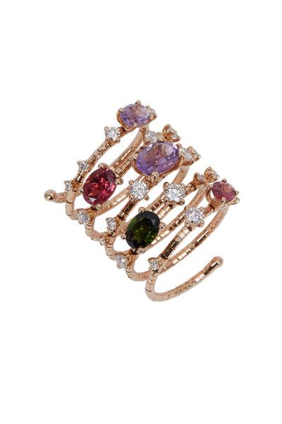 Mattia Cielo - 18K Rose Gold Rainbow Rugiada Coil Ring