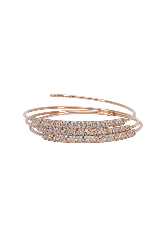 Mattia Cielo Rose Gold White Diamond Coil Bracelet