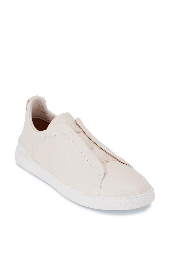 Ermenegildo Zegna Cream Grained Leather Triple Stitch Sneaker