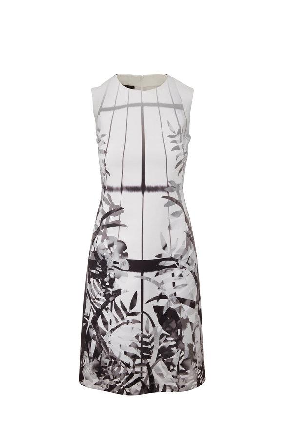 Akris White Leaf-Print Cotton & Silk Sheath Dress
