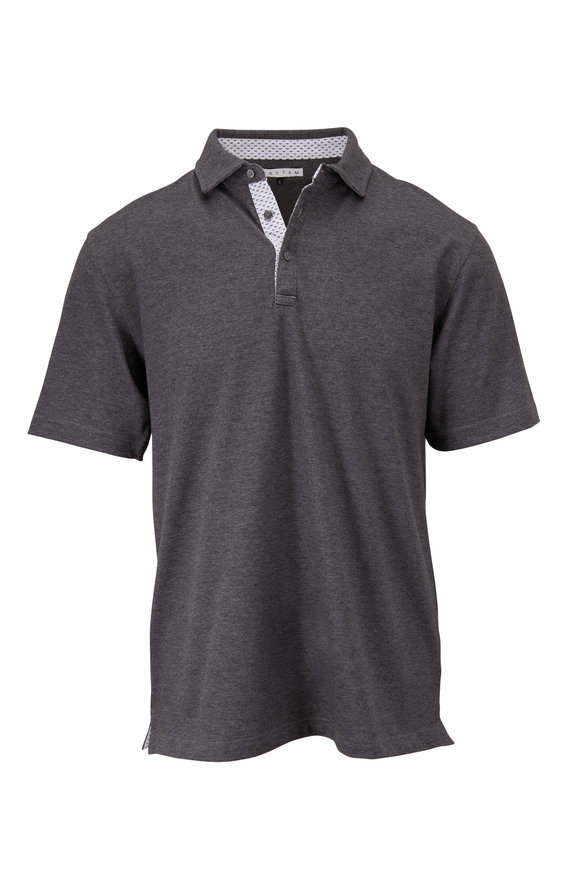 Vastrm Charcoal Heather Short Sleeve Polo