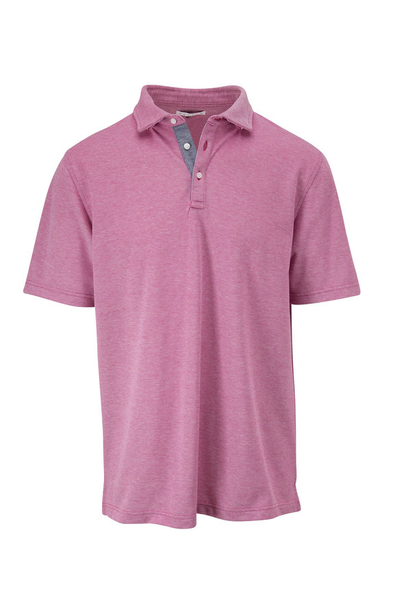 Vastrm Magenta Oxford Piqué Short Sleeve Polo
