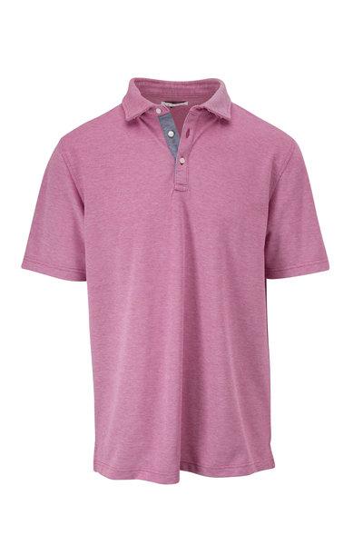 Vastrm - Magenta Oxford Piqué Short Sleeve Polo