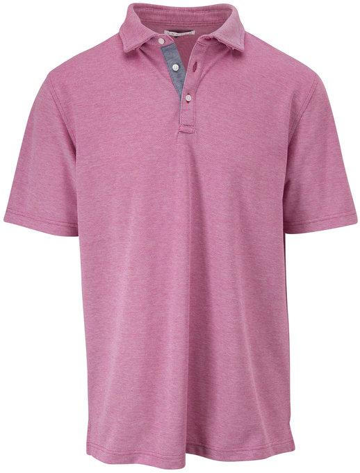 Vastrm Magenta Oxford Piqué Short Sleeve Polo