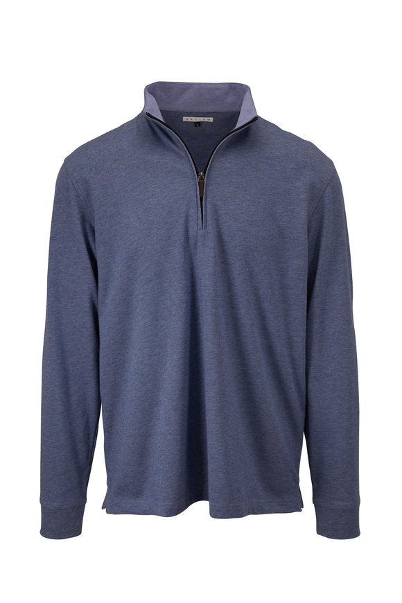 Vastrm Blue Steel Tech Heather Quarter-Zip Pullover