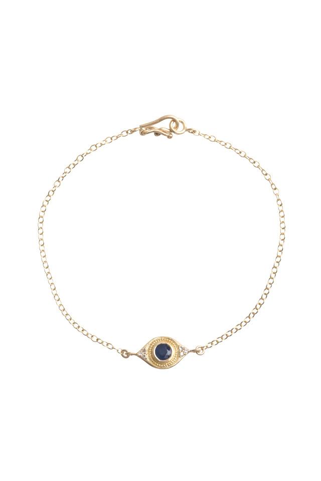 Sapphire Evil Eye Diamond Gold Bracelet