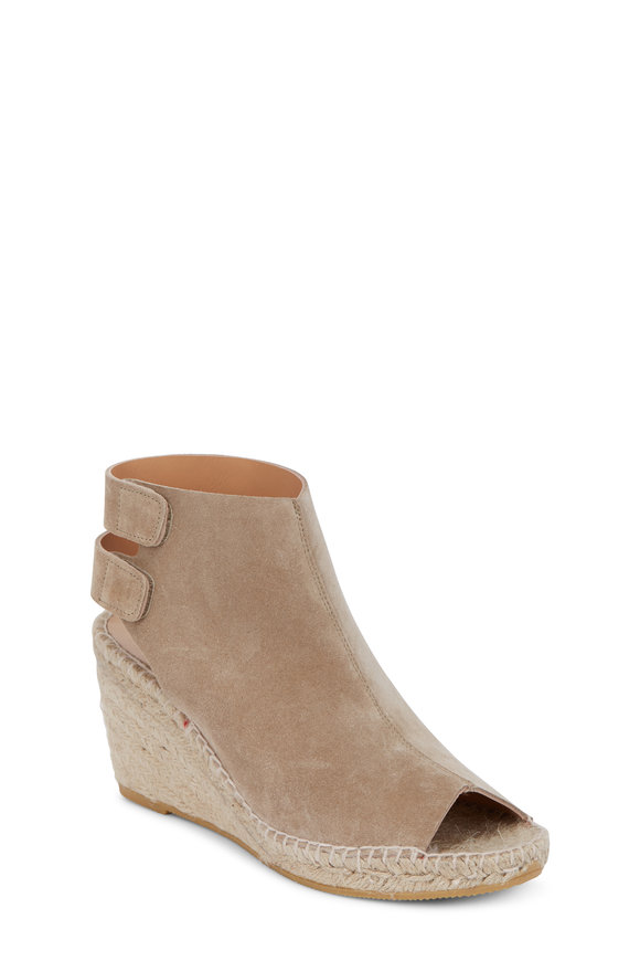 Bettye Muller Download Taupe Suede Peep-Toe Espadrille, 75mm