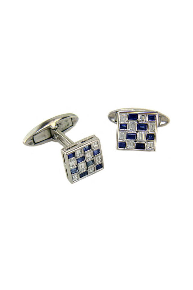 Sapphire & Diamond Checkerboard Cuff Links