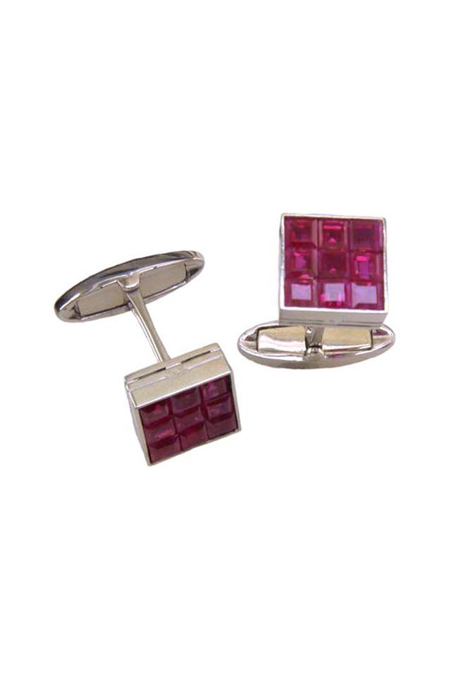 Platinum Square-Cut Ruby Cuff Links