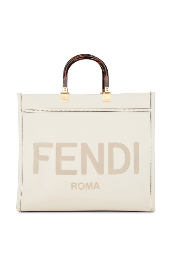 Fendi Sunshine White Leather Logo Medium Tote