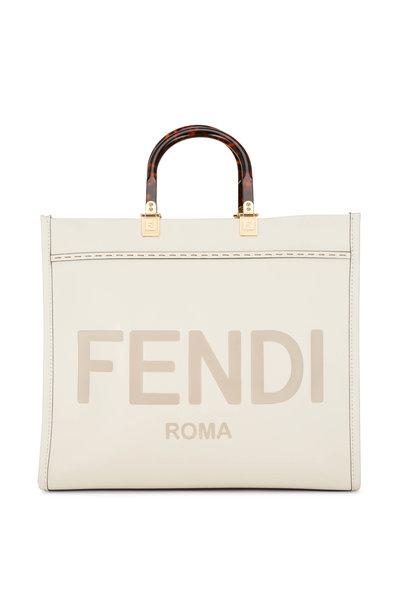 Fendi - Sunshine White Leather Logo Medium Tote