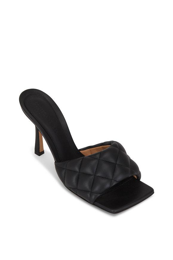 Bottega Veneta Black Padded Leather Slide Sandal, 90mm