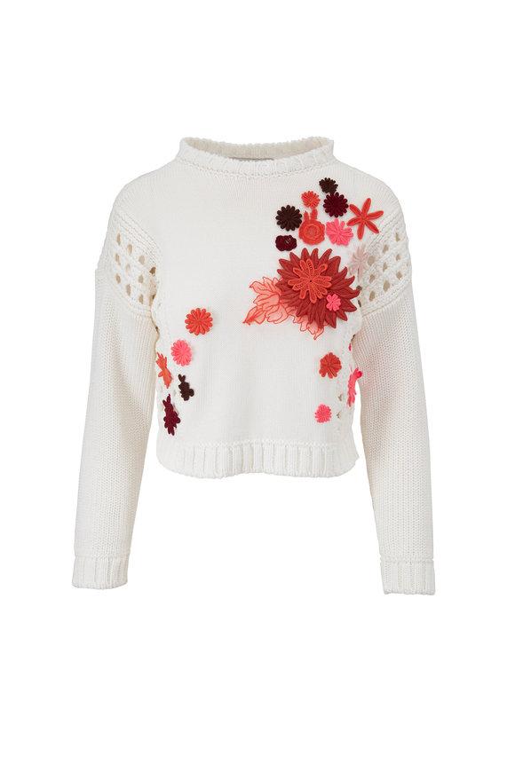 Valentino White Floral Appliqué Crop Sweater
