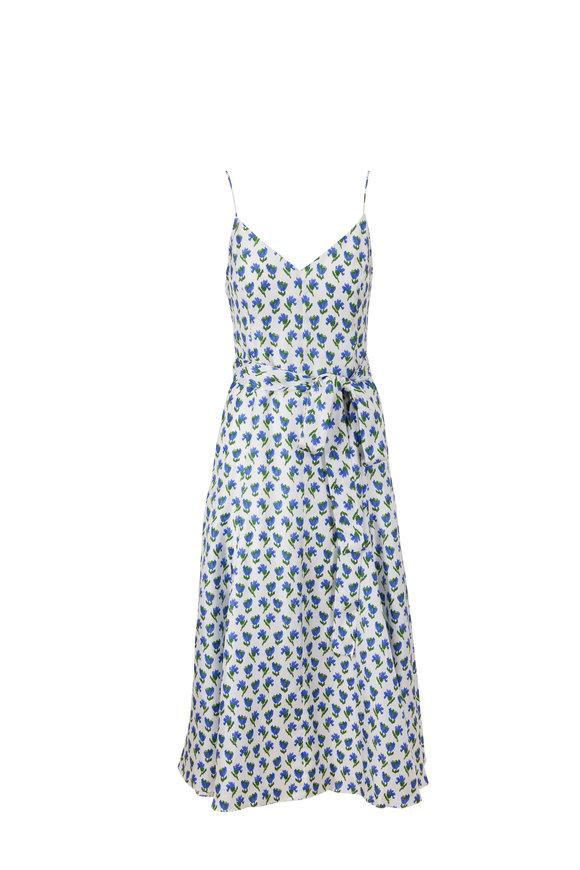 Carolina Herrera White Multi Silk Spaghetti Strap Midi Dress