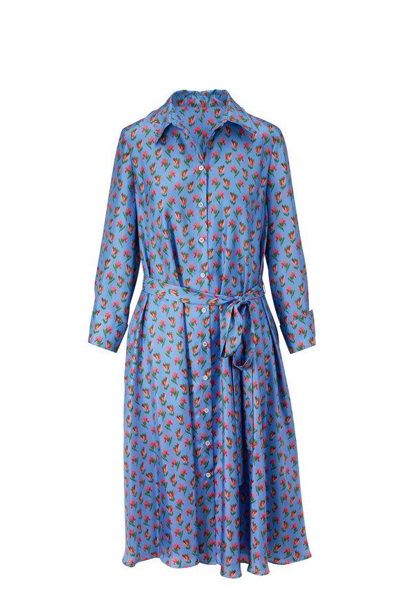 Carolina Herrera Azure Multi Silk Long Sleeve Shirt Dress
